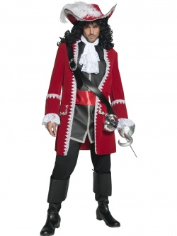 Authentic Pirate Captain Costume, Jacket, Trousers, Top Attached Belt & Cravat